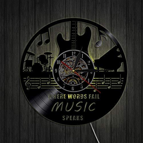 KFSG Disco de Vinilo Reloj de Pared Música Rock Guitarra Tambor y Piano Instrumento Musical Decoración de Pared Arte