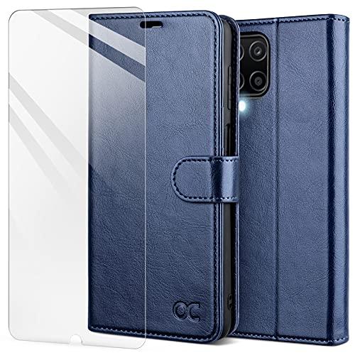 OCASE Custodia Samsung A12, Cover Galaxy A12 Interno TPU Antiurto Portafoglio [Pellicola Protettiva Gratuita] [Carta Fessura] Custodie in Pelle per Samsung Galaxy A12 M12 (6,5 Pollici) - Blu