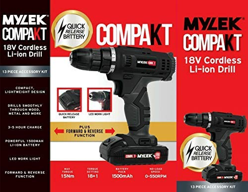 MYLEK MYW09 18V Cordless Drill Electric Screwdriver Set, Powerful Lithium Ion Battery Pack, 18 Volts Combi Driver, DIY…