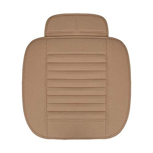 MRTYU-UY Almohadilla de Cuero para Asiento de automóvil, Universal, de Lujo, para Interior del automóvil, Asiento Delantero, Suave, cómoda, Transpirable, sin Respaldo (Paquete de 1), Beige