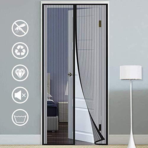 ZLIAN Magnetische Fliegengitter for Türen Maschensieb-Tür-Formatfüllend Velcro Let Fresh Air Ente for Hintertüren, Haustüren, Terrassentüren (Color : Black, Size : 75x215cm(30x85inch))