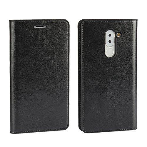 Sunrive Für Huawei Honor 6X, Echt-Ledertasche Schutzhülle Etui Hülle mit Standfunktion Flip Lederhülle Cover Hülle Handyhülle Schalen Handy Tasche Kartenfächer Kreditkarte Taschen(schwarz)