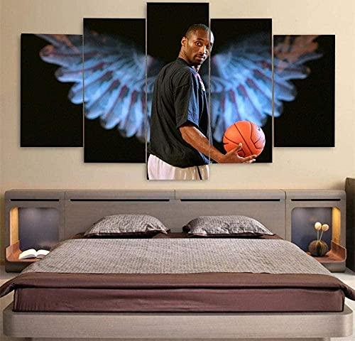 WNQMY Impresiones En Lienzo Pintura Impresa En Lienzo Arte De Pared 5 Piezas Vintage Estrella NBA Black Mamba Kobe Bryant Sala De Estar Decoración del Hogar Modular