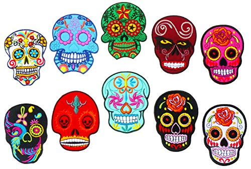 Graphic Dust 10 Pieces Sugar Skull Embroidered Iron on Patch Calavera Symbol Happy Death Lucky Spirit Coco Backpack DIY