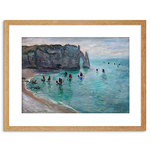 The Art Stop Painting Monet Etretat AVAL Door Fishing Boats Framed Print F97X2958