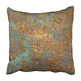 Bensontop Dekokissenbezug Polyester Dekorativ Orange Kupfer Vintage Bronze Rost Metall Patina Wand...