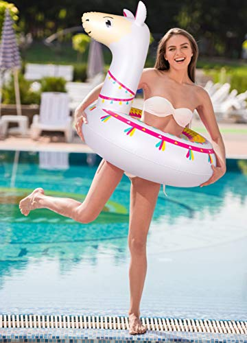 """Llama Pool Float Ride On Party Toys Alpaca Inflatable Swimming Ring Fiesta Water Supplies - for Adults or Kids 5 This llama ride-on float is a adorable addition to your pool party this summer. Made of premium polyvinyl chloride.Soft,durable and thick material. Measurement :41"""" X 37"""".Perfect for swimmers of all sizes and rated at 400 pounds."""