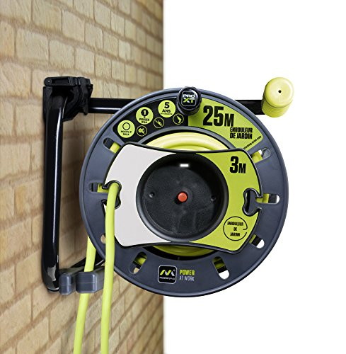 MasterPlug omf2516fl3ip/owhb-px Elektrische-Kabeltrommel Garten, 3000W, 230V, Schwarz/Grün, 25m