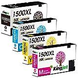 Kingjet 1500XL Sostituzione Canon PGI-1500 PGI-1500XL Cartucce d'inchiostro Compatibile con Canon Maxify MB2350 MB2750 MB2150 MB2755 MB2155 MB2050 MB2300 (1 Nero, 1 Ciano, 1 Magenta, 1 Giallo)