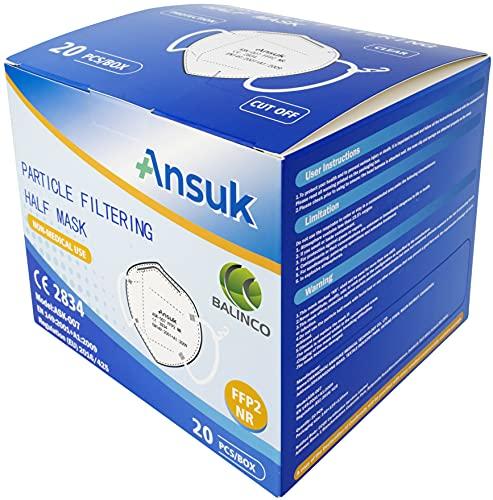 Ansuk 100 Stück FFP2 Atemschutzmasken | Partikelfiltermaske |Staubmaske | Schutzmaske | Atemmaske | Mundschutzmaske 5-lagig EU CE Zertifiziert von offizieller Stelle CE2834 – EN 149:2001+A1:2009 (100) - 2