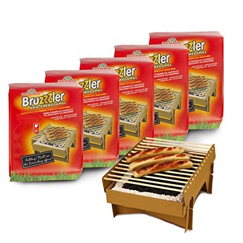 Bruzzzler Eco Barbecue Jetable en Matériaux Naturels 100% Biodégradables: Carton, Bambou, Pierre de Lave. Prêt en 5 min. et Maintient la Température pendant Plus de 60 min., 5 Pièces