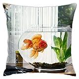 Affordable shop Funda de cojín decorativa para el hogar, diseño de peces dorados de acuario