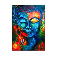 抽象的な仏キャンバスの壁の芸術カラフルな仏教のポスターとプリントリビングルームの装飾のためのモダンなクアドロスの写真(45x65cm)フレームレス