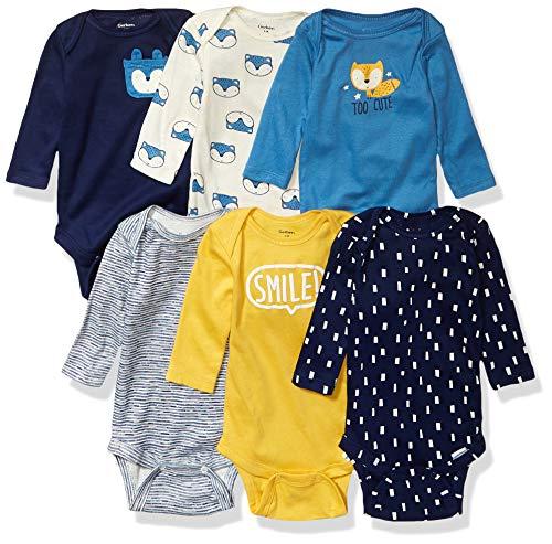 Gerber - Mono de manga larga para bebés (6 unidades), enterizos de manga larga, 6 unidades, Azul (Dinosaur Blue)