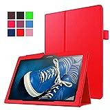 Qiaogle Tableta Case - Funda de PU Cuero Clamshell Carcasa Cover para Lenovo Tab 2 A10-70F / Tab 2 A10-30F / Tab 3 10 Business (10.1 Pulgadas) - KP01 / Rojo Estilo