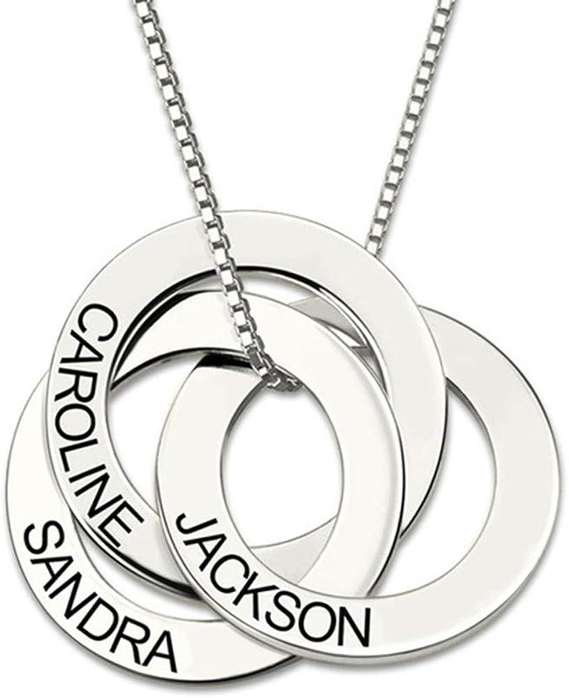 いつでも送料無料 Iprome Personalized お買い得品 Russian Ring Name Engraving Necklace - with