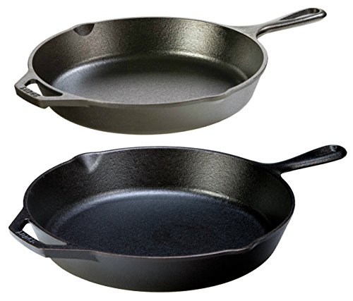 Lodge Seasoned Cast Iron 2 Skillet Bundle. 12 inches and 10.25 inches Set of 2 Cast Iron Frying Pans