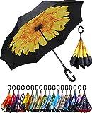 BAGAIL Double Layer Inverted Umbrella Reverse Folding Umbrellas Windproof UV Protection Big Straight Umbrella for Car...
