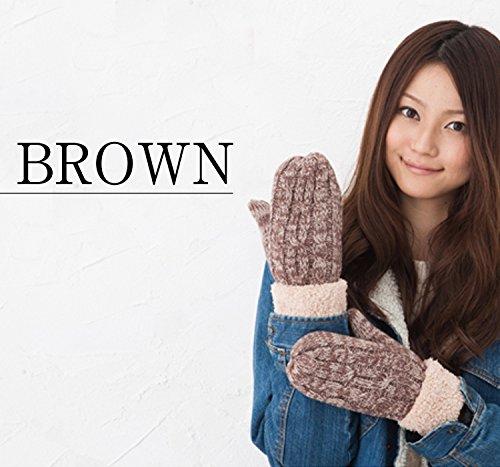 GlovesDEPO Women Knitted Mittens Gloves Warmest Double-layer Inner Boa For 5 Finger Melange