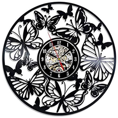 TANCEQI Reloj De Pared Accesorios De Decoración del Hogar Diseño Hoja de Arce de Mariposa Moderno Reloj De Vinilo Colgante Reloj De Pared Reloj Único 12' Idea de Regalo Creativo