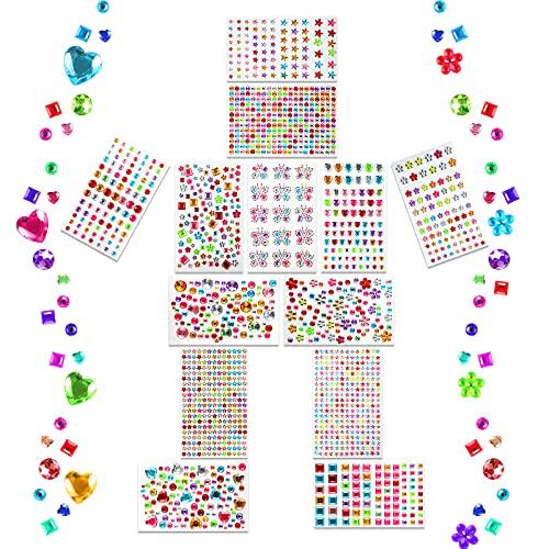 KEELYY brillantini Adesivi, Colorato Acriliche Gemme Pietre Autoadesive Strass Adesivi Viso Kit, Decorazioni, Bambini Craft Set 13 Fogli Crystal Gem Sticker(Stile Casuale)