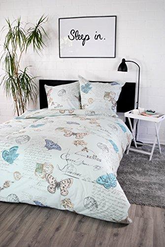 'ropa de cama 100% algodón Diseño 'Vintage Butterfly Blue 135x 200cm con cremallera almohada