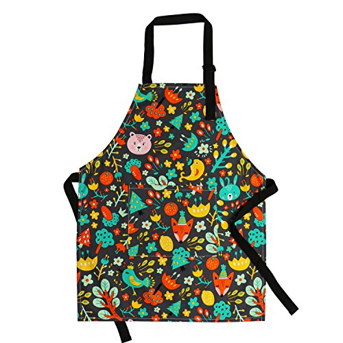 Kids Aprons Pure Cotton Children Aprons with Adjustable Neck Strap and Pocket Cute Child Chef Aprons for Boys and Girls Cooking Baking Painting Aprons in 2 Sizes (Black 1, L)