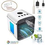 Air Portable Cooler 3 in 1 Mini Mobile Klimaanlage Luftkühler, Luftbefeuchter und Luftreiniger, Tragbare Klimaanlage Luftkühler für Büro,Leakproof, New Filter (Weiß)