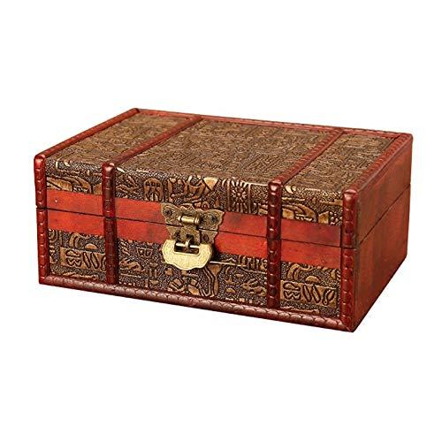 HKHJ Scrigno del Tesoro Vintage, Cassapanca in Legno, Bauletto Stile Antico per Accessori Gioielli Oggetti di Valore,A