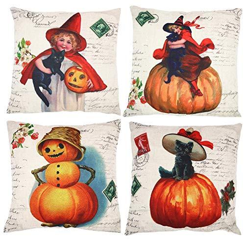 FENGJUN Autumn Pumpkin Thanksgiving Pillow Covers Set of 4, Throw Cushion Pillow Case for Home Decorations Unique Designs Pillowcase for Living Room Sofa (P-2)
