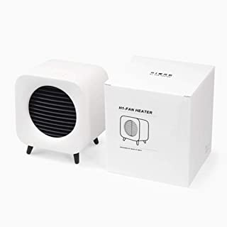 Yuan Dun'er Calefactor pies,Calentador de cerámica de Espacio Mini Calentador de Ventilador Ventilador de cabecera portátil Calentador eléctrico para Oficina en casa-Blanco