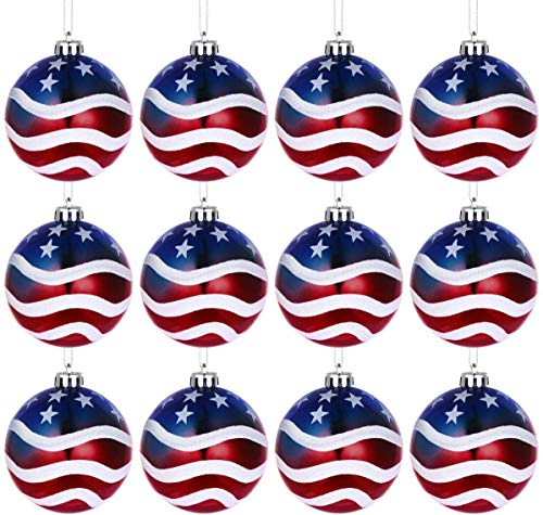 H&W American Patriotic Christmas Ball Ornaments July of 4th Ball Hanging Independence Day Party Decor Holiday Wedding Tree Decorations Pack of 12