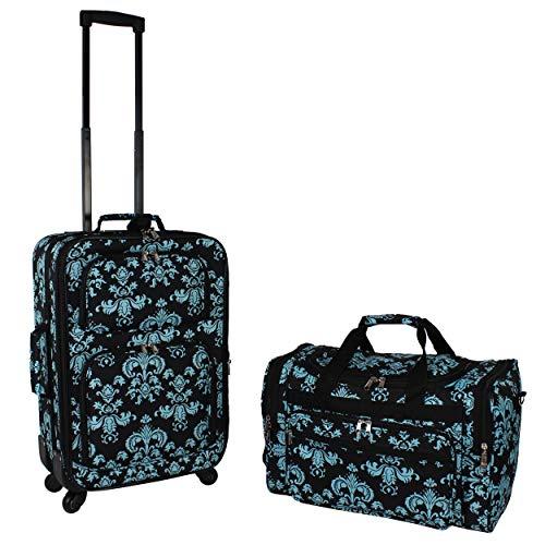 World Traveler 2-Piece Carry-On Expandable Spinner Luggage Set, Black Blue Damask, One Size