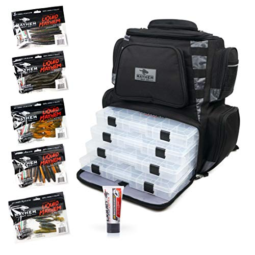 Mayhem Bait Co Fishing Bag Backpack With 4 Large 3700 Tackle Box Organizer Trays Included. Plus a BONUS 5 Bags of Premium Soft Plastic Baits & A Tube of Liquid Mayhem Fish Attractant Included.