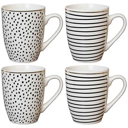 Van Well - Juego de 4 tazas con asa (porcelana, 340 ml), diseño de rayas, color negro y dorado