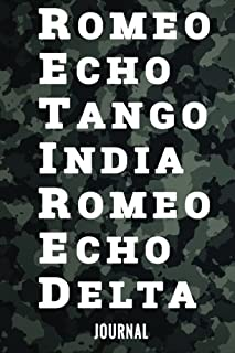 Retired Journal: Funny Camouflage 6x9 Notebook Military Retirement Gift Navy Radio Ham Phonetic Alphabet Black Camo Police Chief Army Pilot Marine Air Force Coast Guard Officer Note Book