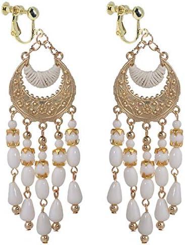 Boho Clip on Dangle Earrings for Girls Women Gold Tone Crescent White Resin Seed Beaded Drop Fashion
