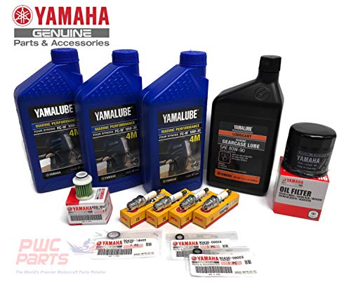 YAMAHA OEM 2006+ F50 T50 F60 T60 Outboard Oil Change 10W30 FC 4M Lower Unit Gear Lube Drain Fill Gaskets Fuel Filter Spark Plugs NGK DPR6EB-9 Maintenance Kit