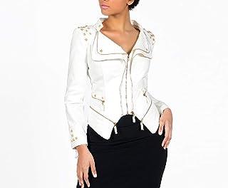 Howely Women's Zip Irregular Plus-Size Biker Motorcycle Jeans Jacket Coat