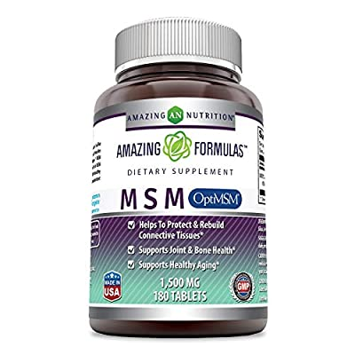 Amazing Formulas OptiMSM - 1500mg, 180 Tablets - Supports Bone Health and Healthy Ageing - Protects Tissue*