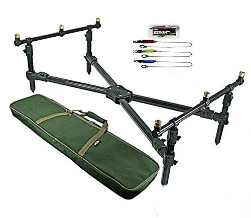 NGT DELUXE CROSS ROD POD PADDED CARRY CASE & SWINGER INDICATOR SET by NGT