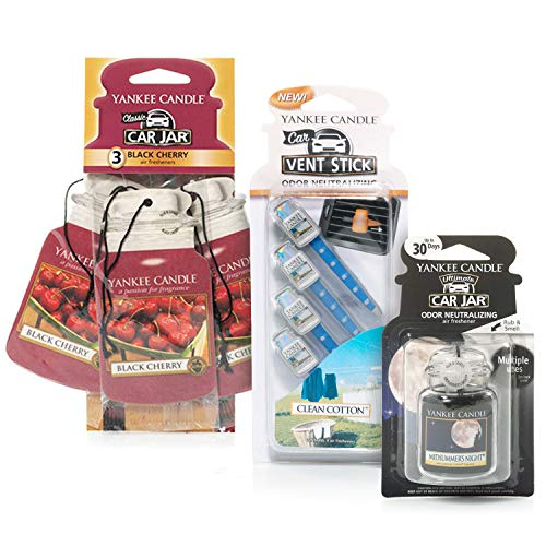 YANKEE CANDLE Set di profumatori per Auto con 3 Car Jar (Amarena), 1 Car Jar Ultimate (Notte di Mezza Estate) e 4 Vent Stick (Cotone Pulito)