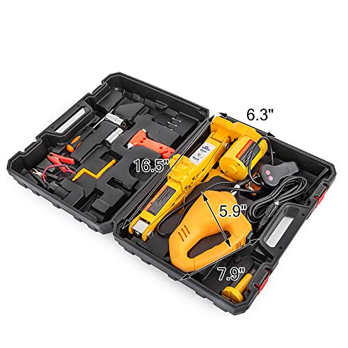 BestEquip Electric Car Jack 3 Ton 6600 LB Electric Scissor Jack 12V DC Electric Jack with Electric Impact Wrench Car Repair Tool for Sedans and Trucks