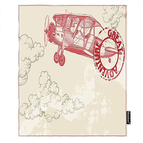 Moslion Flugzeug-Decken, 101,6 x 127 cm, Vintage-Stil, fliegendes Flugzeug, Himmel, Wolke, Abenteuer, Flugzeug, Überwurf, Decke, Flanell, Picknickdecke, Zuhause für Sofa, Haustier, Hund, Katze