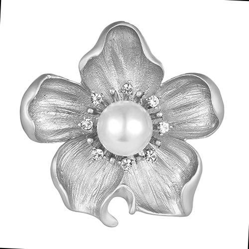 shuibaobao Broche de perlas vintage con flores de cristal Boutonniere para mujer, accesorio para la boda, accesorio para el amante de la Navidad (color del metal: plata mate)