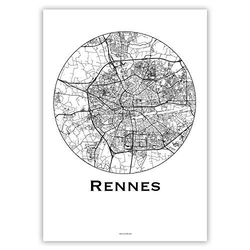 Plakat Rennes Frankreich Minimalist Map - Poster, City Map, Dekoration, Geschenk