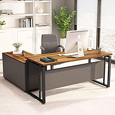 "LITTLE TREE L-Shaped Computer Desk, 55"" Executive Desk Business Furniture with 39"" File Cabinet Storage Mobile Printer Filing Stand for Office"