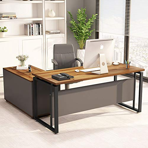 "LITTLE TREE L-Shaped Computer Desk, 55' Executive Desk Business Furniture with 39"" File Cabinet Storage Mobile Printer Filing Stand for Home Office Desk Walnut"