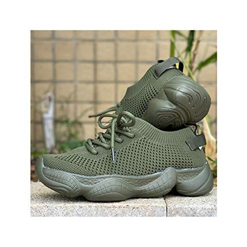 HaoLin Zapatillas Planas para Mujer Zapatos De Malla Encaje para Mujer Transpirable para Caminar Informal Cómodo para Mujer,Green-41