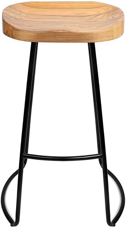 Barture Bar Stool-Solid Wood Bar Stool Iron High Chair Bar Stool Cafes Restaurants 45cm, 65cm, 75cm (color   Beige, Size   45CM)